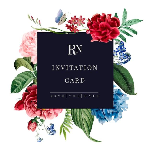 Bloemen uitnodigingskaart mockup illustratie Gratis Vector