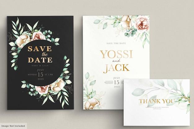 Bloemen uitnodigingskaartenset Gratis Vector