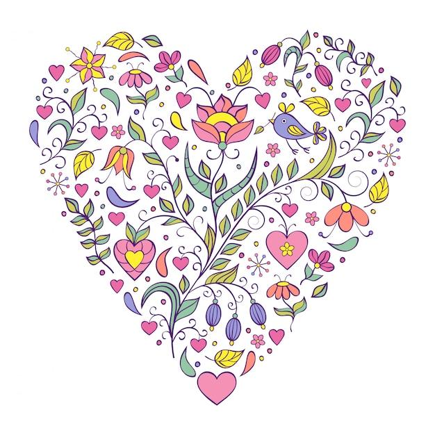 Bloemen valentines hart Premium Vector