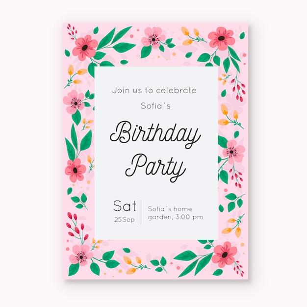 Bloemen verjaardag uitnodiging kaartsjabloon thema Gratis Vector