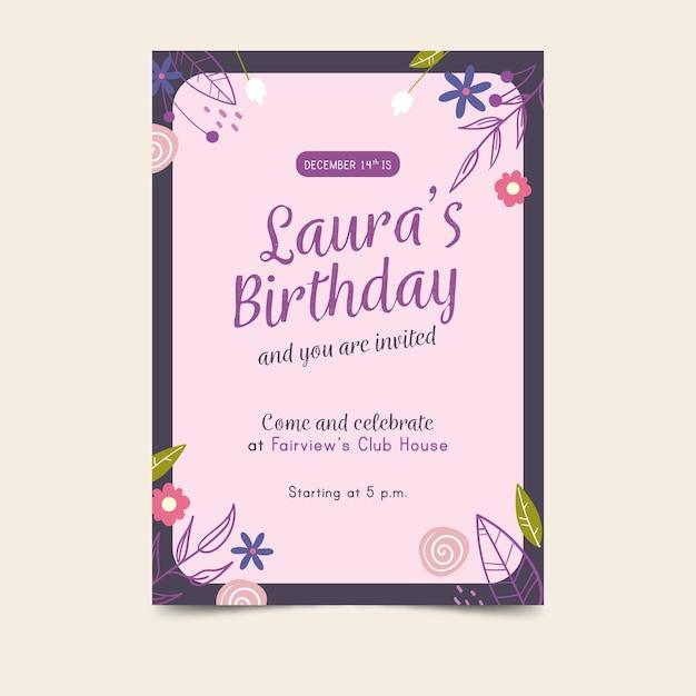 Bloemen verjaardag uitnodiging sjabloon Gratis Vector