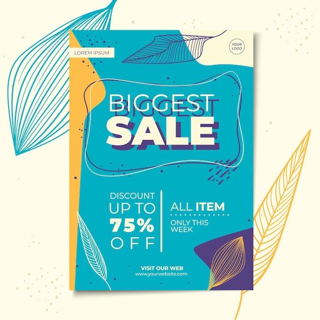 Bloemen verkoop flyer of poster sjabloon Premium Vector