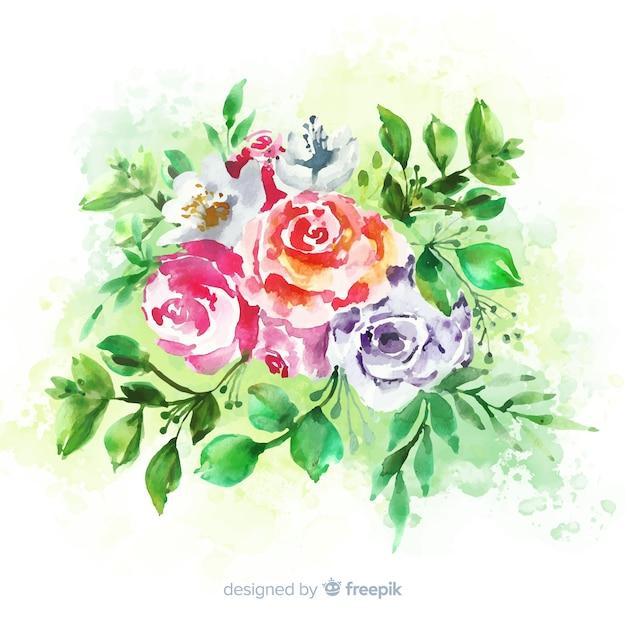 Bloemen vintage bruiloft uitnodiging Gratis Vector
