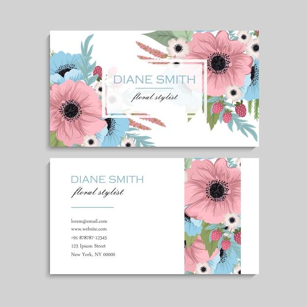 Bloemen visitekaartje ontwerp Premium Vector