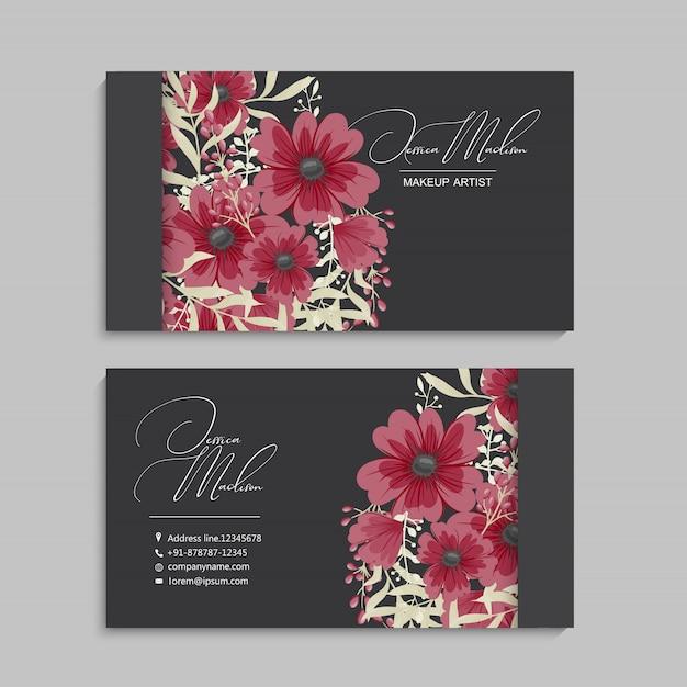 Bloemen visitekaartje Premium Vector