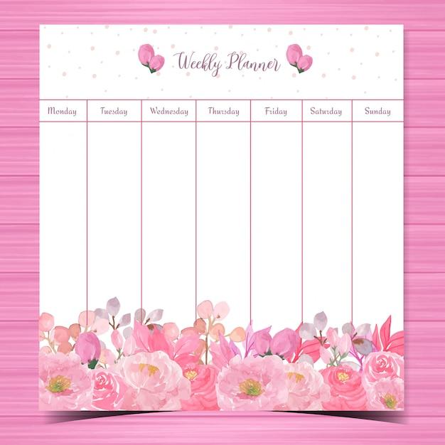 Bloemen weekplanner met prachtige roze rozen Premium Vector