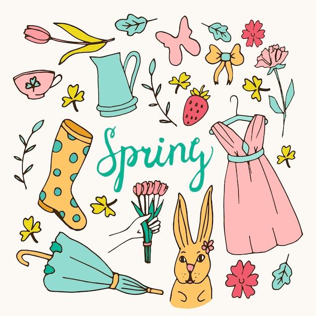 Bloemenachtergrond, de lentethema, groetkaart Gratis Vector