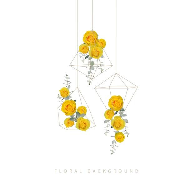 Bloemenachtergrond met gele rozen in terrarium Premium Vector
