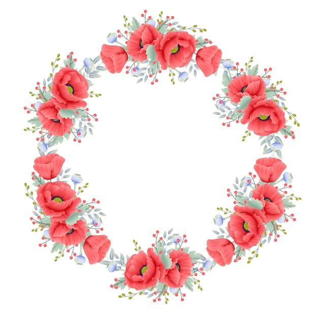 Bloemenachtergrond met papaverbloem Premium Vector