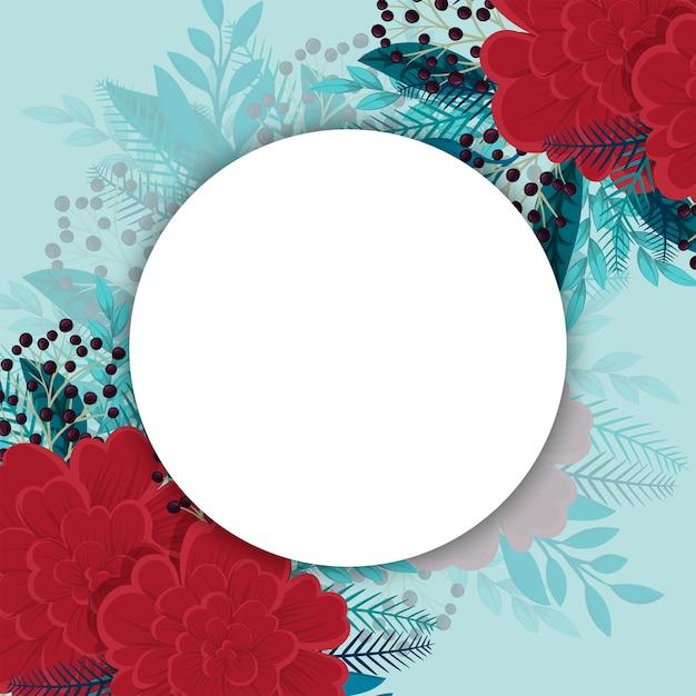 Bloemenachtergrond met ronde lege ruimte Gratis Vector