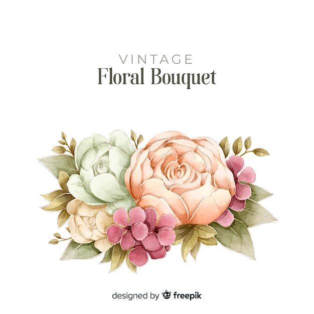 Bloemenboeket in vintage stijl Gratis Vector