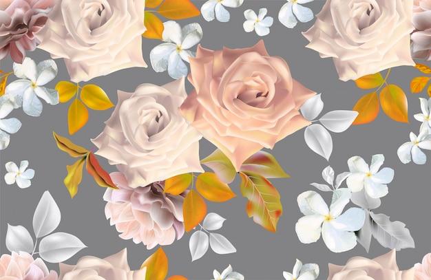 Bloemenboeket romantische stijlen Premium Vector