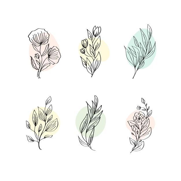 Bloemendecoratie tak blad plant lijn slag pictogram pictogram symbool set collectie Premium Vector