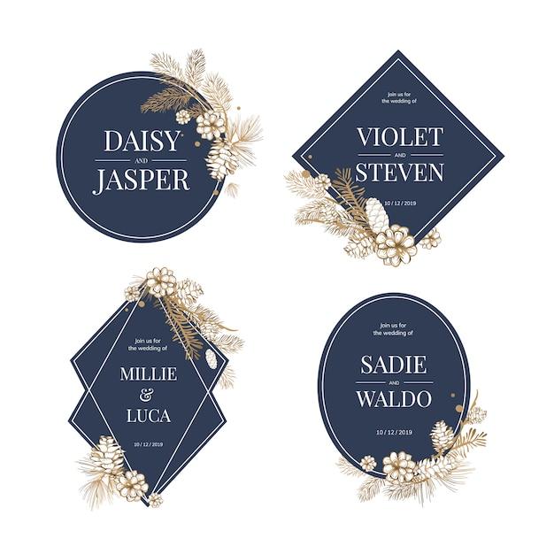 Bloemenhuwelijk uitnodigen collectie Gratis Vector