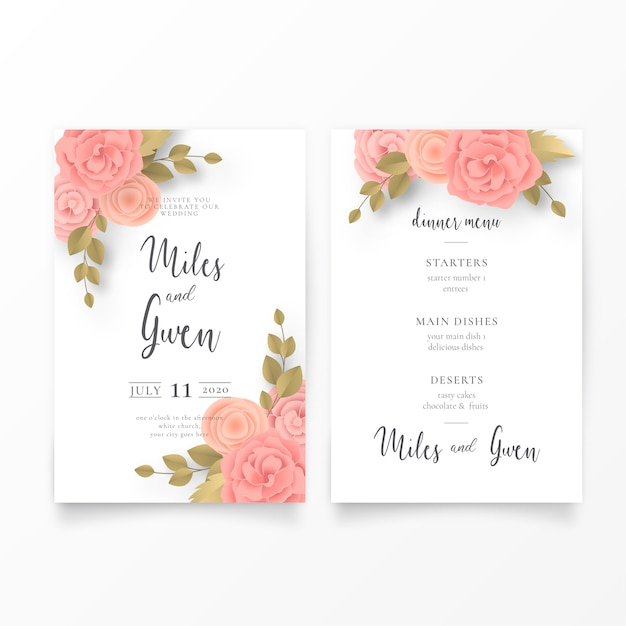 Bloemenhuwelijksuitnodiging en menumalplaatje Gratis Vector
