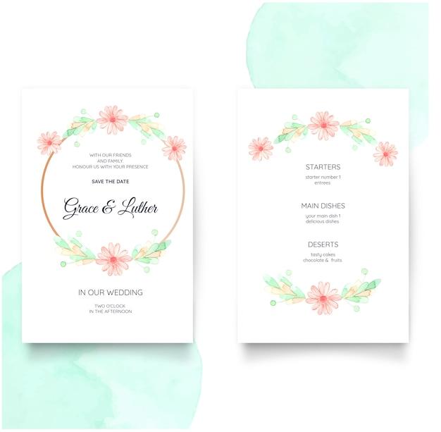 Bloemenhuwelijksuitnodiging in waterverf Premium Vector