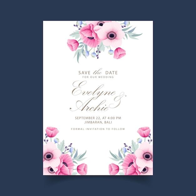 Bloemenhuwelijksuitnodiging met anemoon en papaverbloemen Premium Vector