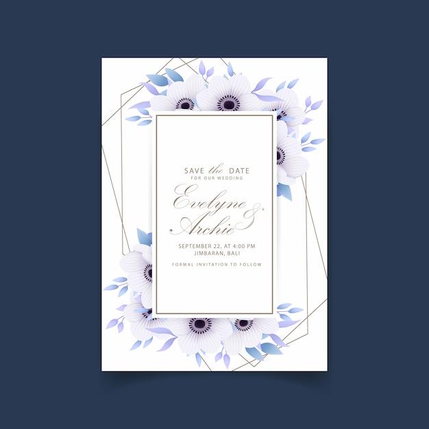 Bloemenhuwelijksuitnodiging met anemoonbloemen Premium Vector