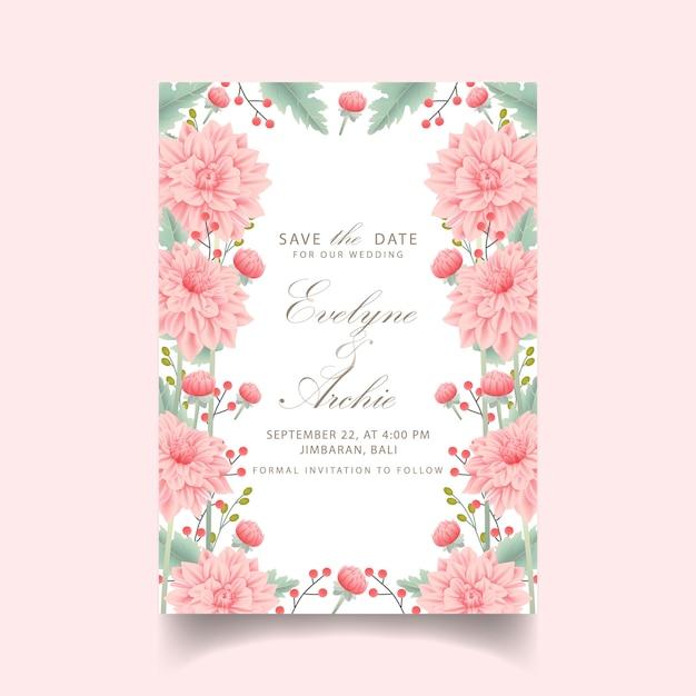 Bloemenhuwelijksuitnodiging met dahliabloem Premium Vector
