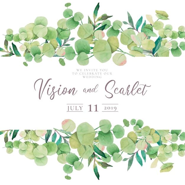 Bloemenhuwelijksuitnodiging met eucalyptusbladeren Gratis Vector