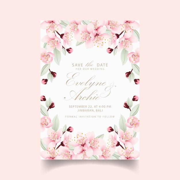 Bloemenhuwelijksuitnodiging met kersenbloesems Premium Vector