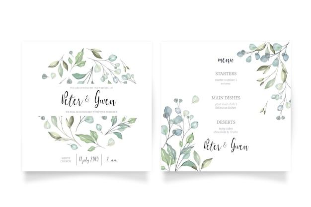 Bloemenhuwelijksuitnodiging met menu Gratis Vector