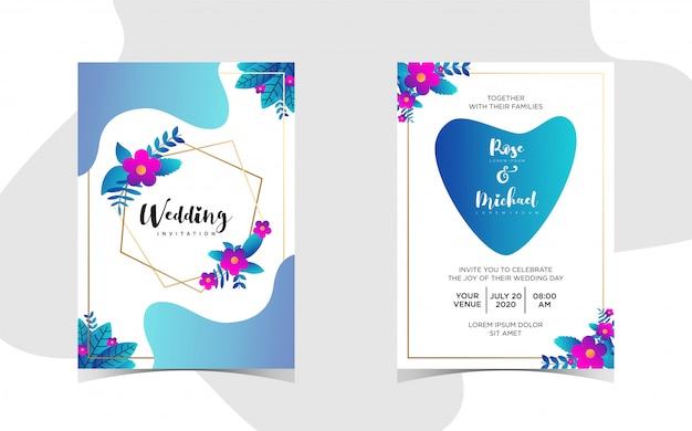 Bloemenhuwelijksuitnodiging met mooi gradiënt Premium Vector