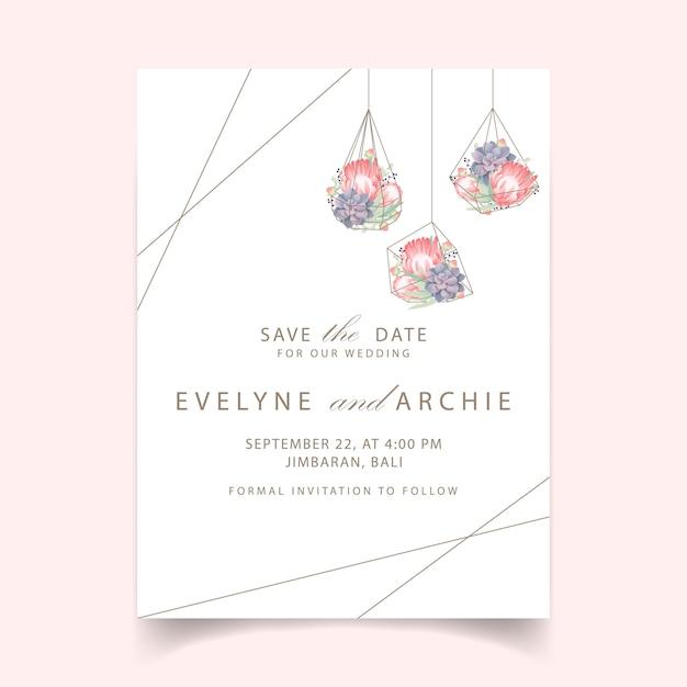 Bloemenhuwelijksuitnodiging met proteabloem en succulent in terrarium Premium Vector