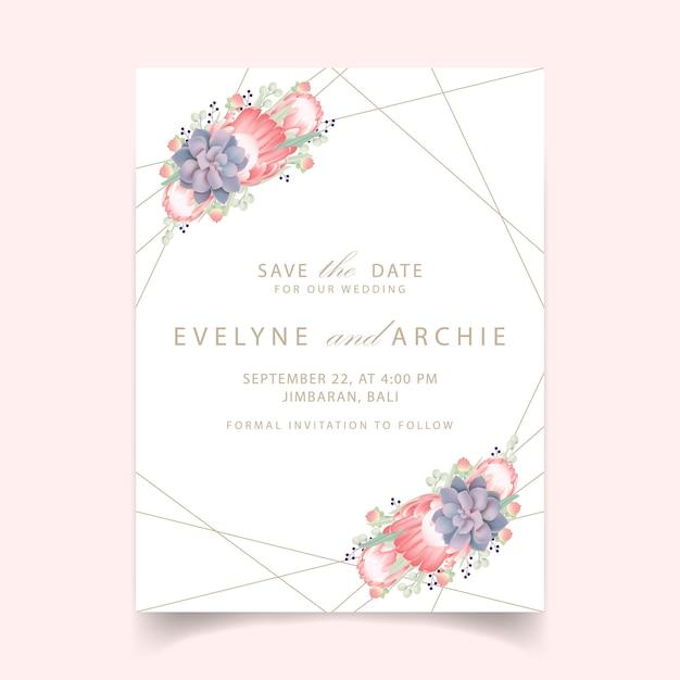 Bloemenhuwelijksuitnodiging met proteabloem en succulent Premium Vector