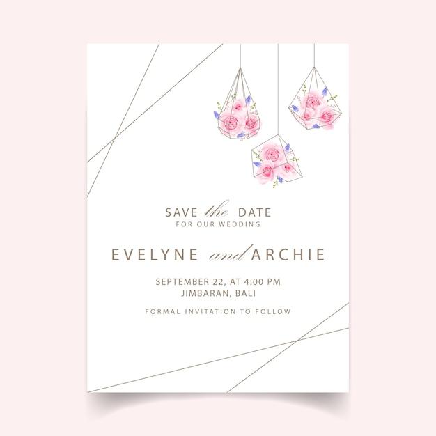 Bloemenhuwelijksuitnodiging met roze roos en muscari bloem Premium Vector
