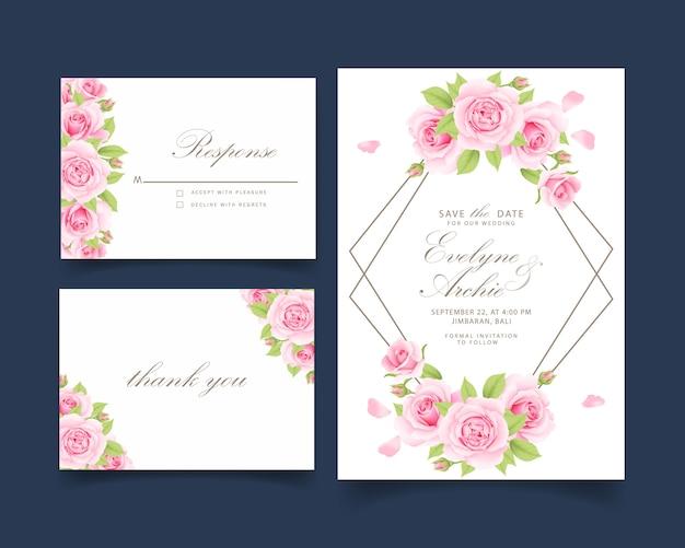 Bloemenhuwelijksuitnodiging met roze roos Premium Vector