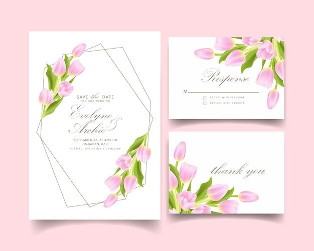 Bloemenhuwelijksuitnodiging met roze tulpenbloem Premium Vector
