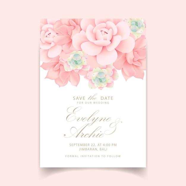 Bloemenhuwelijksuitnodiging met succulents Premium Vector