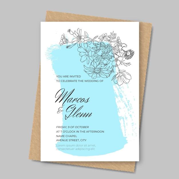 Bloemenhuwelijksuitnodiging met verf Gratis Vector