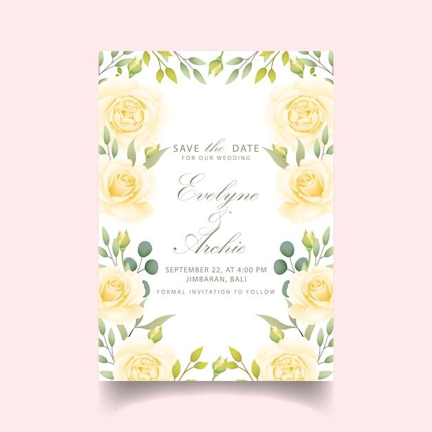 Bloemenhuwelijksuitnodiging met witte roos Premium Vector
