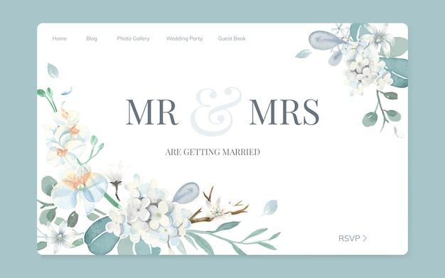 Bloemenhuwelijksuitnodiging websiteontwerp Gratis Vector