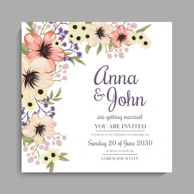 Bloemenhuwelijksuitnodigingskaart - geel bloemenontwerp Gratis Vector
