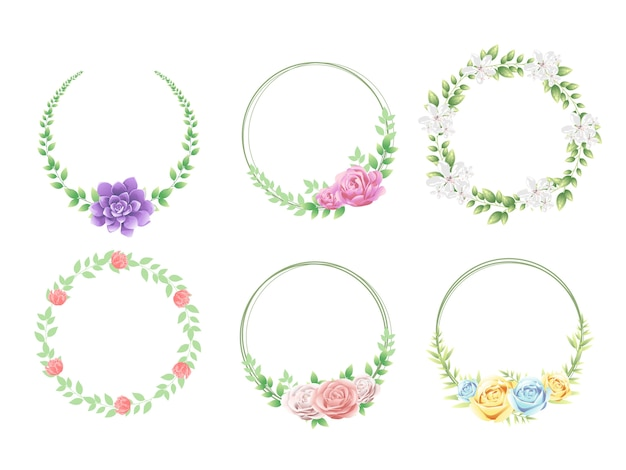 Bloemenkader dat met mooie bloemen wordt geplaatst Premium Vector