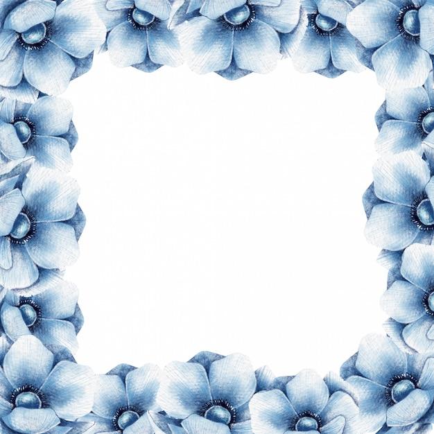 Bloemenkader met blauwe anemoonbloemen Premium Vector