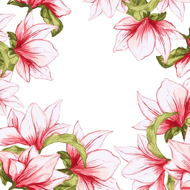 Bloemenkader met de geschilderde achtergrond van magnolia tot bloei komende bloemen Gratis Vector