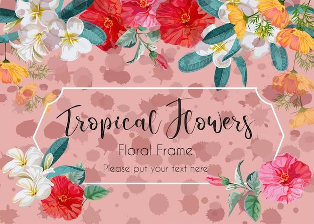 Bloemenkader met hibiscus, plumeria en starburst bloemillustratie Premium Vector