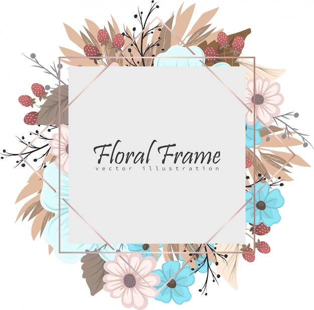 Bloemenkader met kleurrijke bloem. Gratis Vector