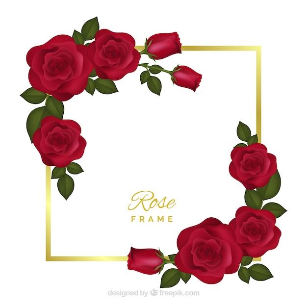 Bloemenkader met rode rozen Gratis Vector