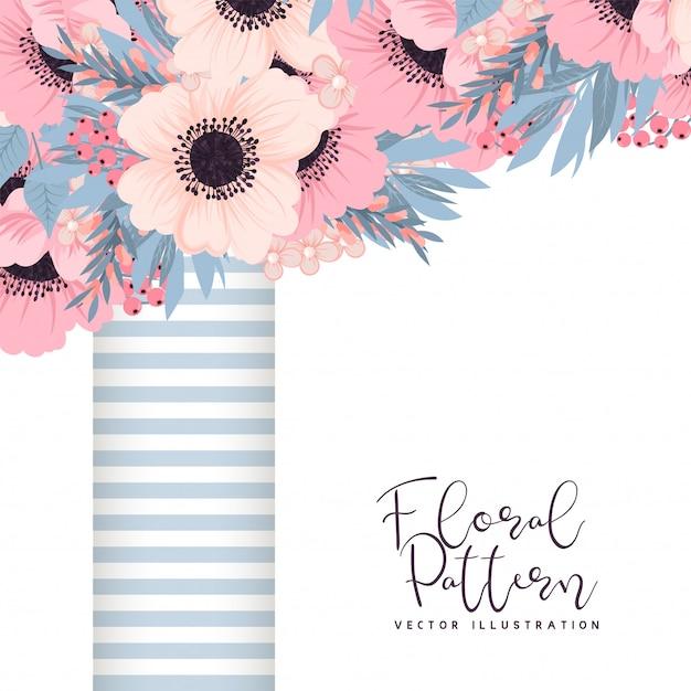 Bloemenkader met roze en blauwe bloem. Gratis Vector