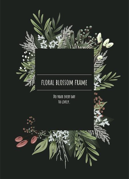 Bloemenkader voor uitnodigingskaarten en afbeeldingen. Premium Vector