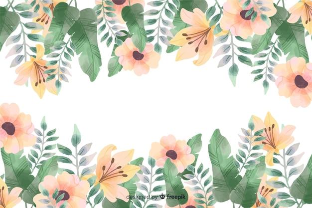 Bloemenkaderachtergrond met waterverfontwerp Gratis Vector