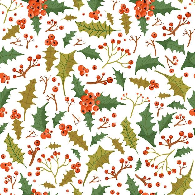 Bloemenkerstmis naadloos patroon met hulstbladeren en bessen. Premium Vector