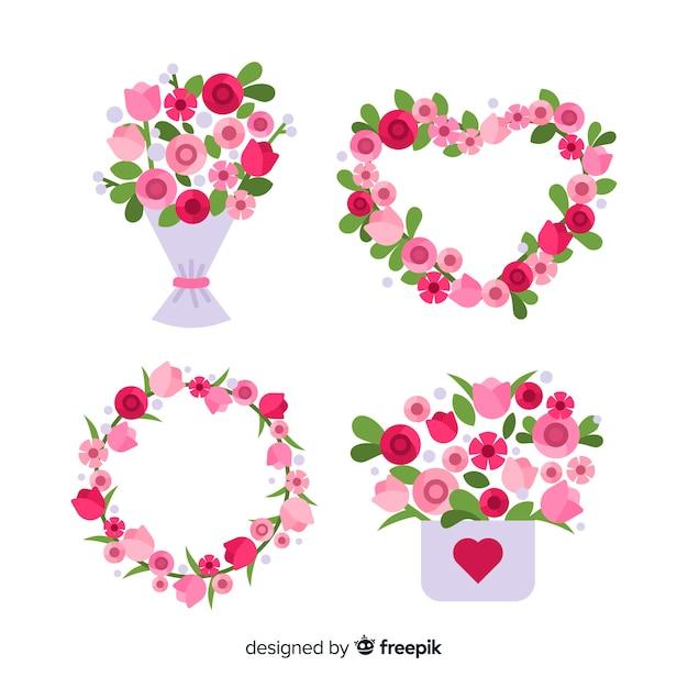 Bloemenkransen en boeketteninzameling voor valentijnskaartendag Gratis Vector
