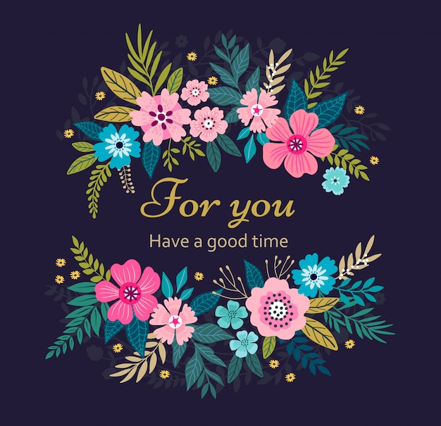 Bloemenkroon op donkerblauwe achtergrond. heldere kleurrijke lentebloemen. leuke retro bloemen in de vorm van een krans. Premium Vector