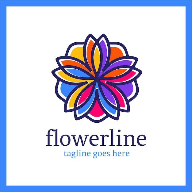 Bloemenlijnlogotype. koninklijk lotus-ornament Premium Vector